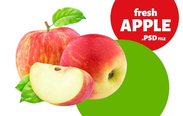 Frutti rossi della mela isolati sulla parete bianca Psd Premium