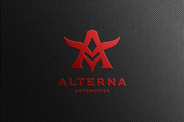 Red automotive logo mockup Psd Premium