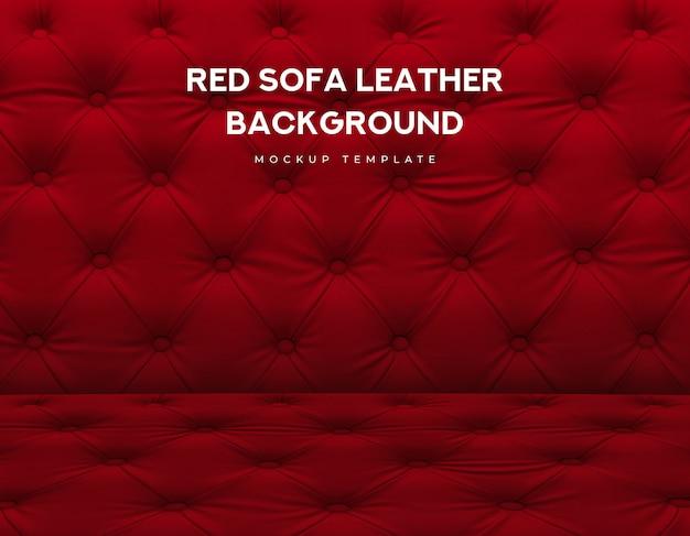 Divano rosso classico divano in pelle con manopola di lusso Psd Premium