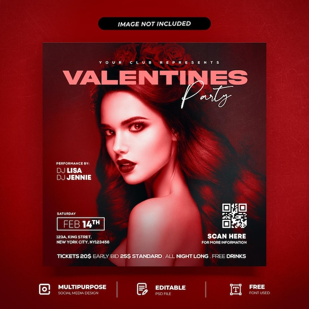 Red valentine night party social media post modello Psd Premium