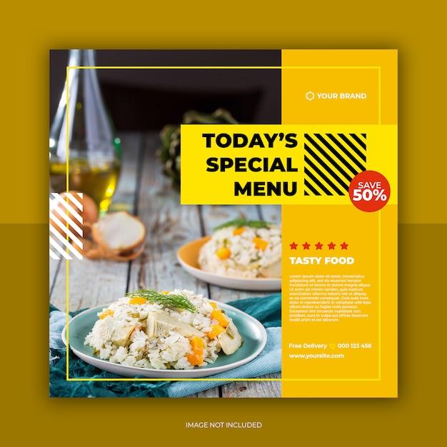 Modello di post ristorante social banner e cibo menu social media Psd Premium