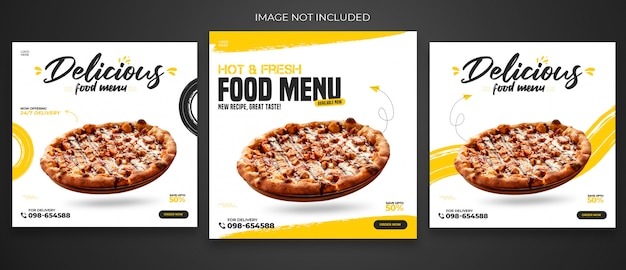 Menu post ristorante o cibo social media template premium psd Psd Premium