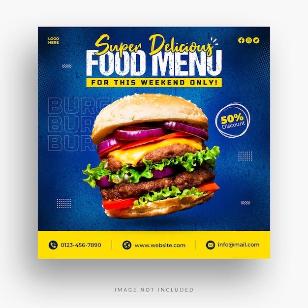 Modello di banner di social media ristorante Psd Premium