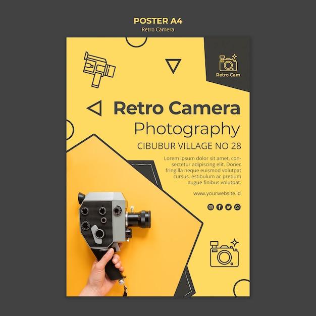 Modello di poster fotocamera retrò Psd Premium