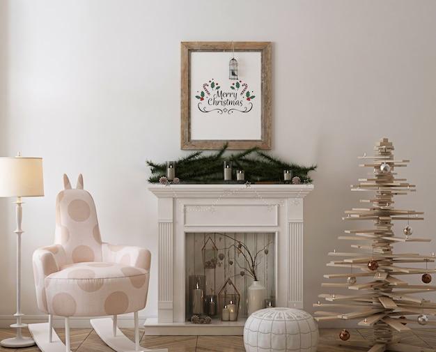 Mockup di cornice poster rustico con albero di natale in legno, decorazioni e regali Psd Premium
