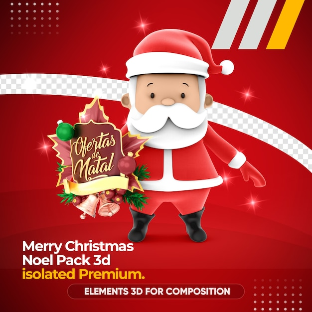 Carattere di babbo natale in 3d rendering carino Psd Premium