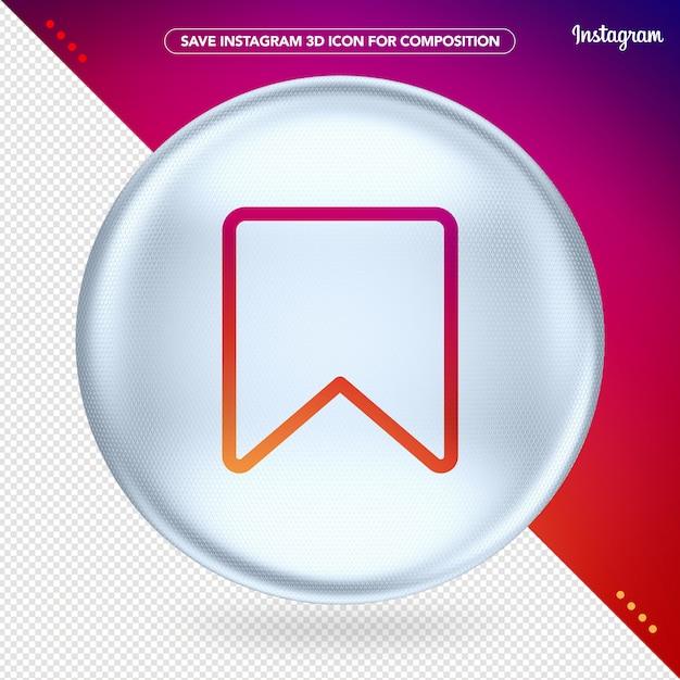 Salva instagram 3d white Psd Premium