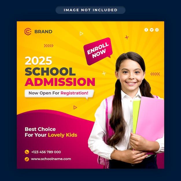 Banner instagram promozionale di ammissione alla scuola o modello di post sui social media Psd Premium