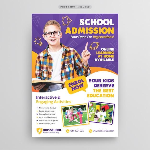 Modello volantino - ammissione all'istruzione scolastica Psd Premium