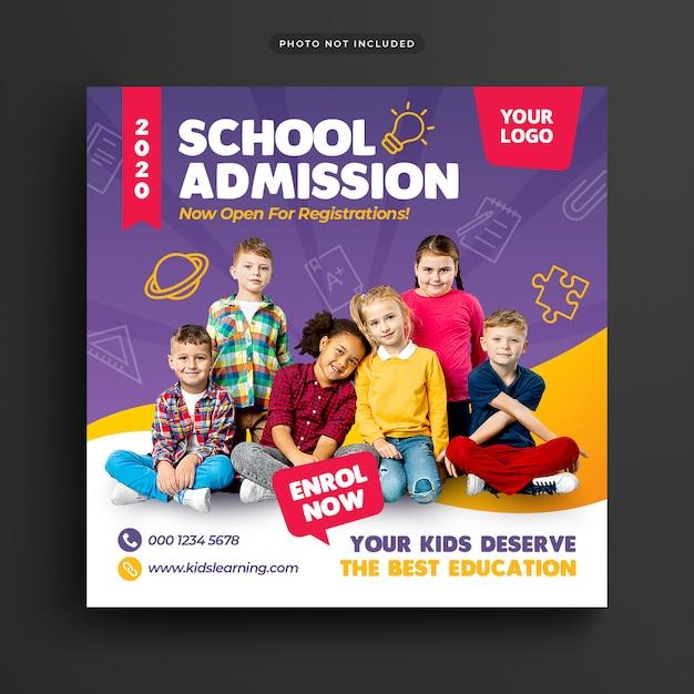 Ammissione all'istruzione scolastica social media post & web banner Psd Premium