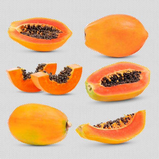 Set di papaia su trasparente. Psd Premium