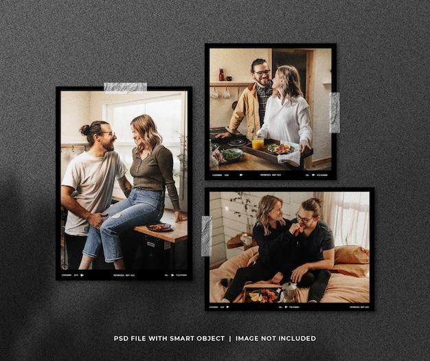 Set di polaroid photo mockup con shadow overlay Psd Premium