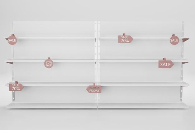 Mockup di scaffale per l'inserimento di prodotti nell'illustrazione di rendering 3d Psd Premium