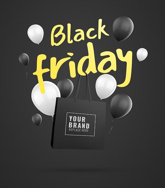 Banner mockup borsa della spesa black friday Psd Premium