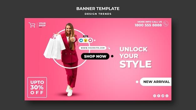 Modello di banner pubblicitario donna dello shopping Psd Premium