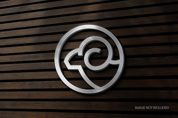 Mockup logo segno muro d'argento con sovrapposizione di ombre Psd Premium