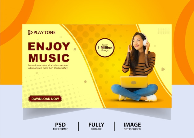 Soggiorno semplice a casa goditi la musica banner web design Psd Premium