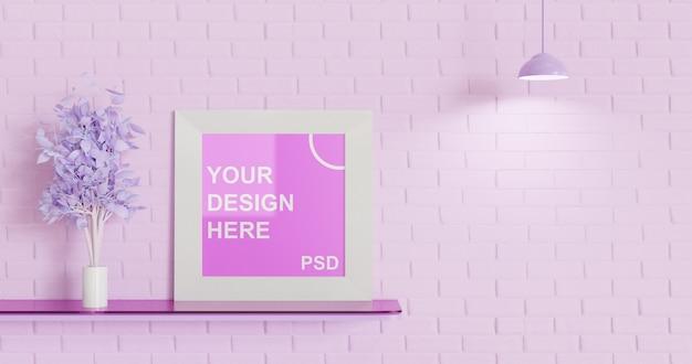 Mockup a cornice quadrata singola sulla scrivania fluttuante, tavolozza di colori rosa Psd Premium
