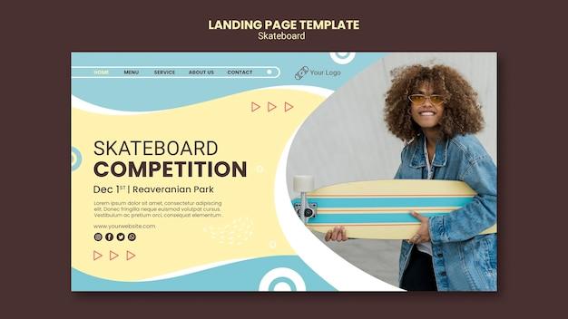 Modello di pagina di destinazione del concetto di skateboard Psd Premium
