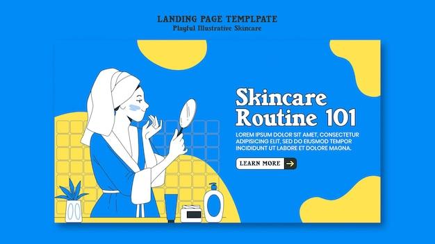 Modello di pagina di destinazione di routine per la cura della pelle Psd Premium