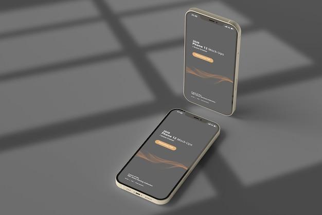 Mockup di smartphone con sovrapposizione di ombre Psd Premium