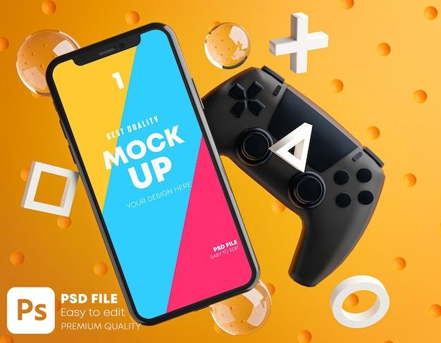 Smartphone orange mockup per gamepad Psd Premium
