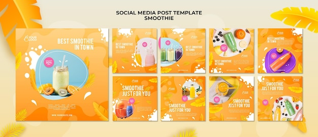 Post sui social media di smoothie Psd Premium