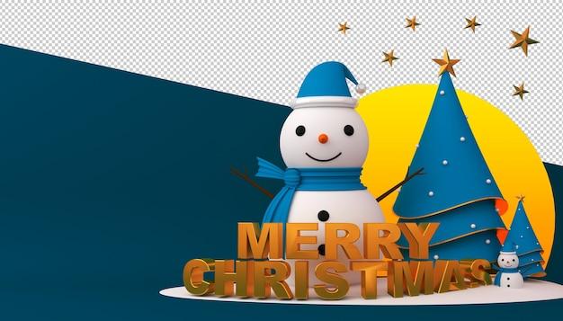 Pupazzo di neve, albero di natale e confezione regalo in rendering 3d Psd Premium