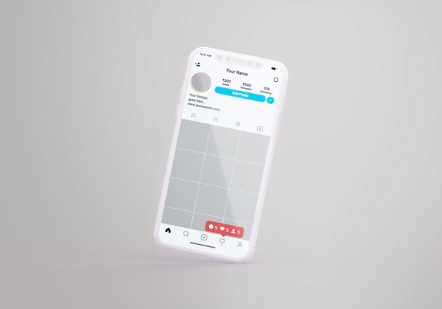 Social media instagram sul modello di cellulare Psd Premium