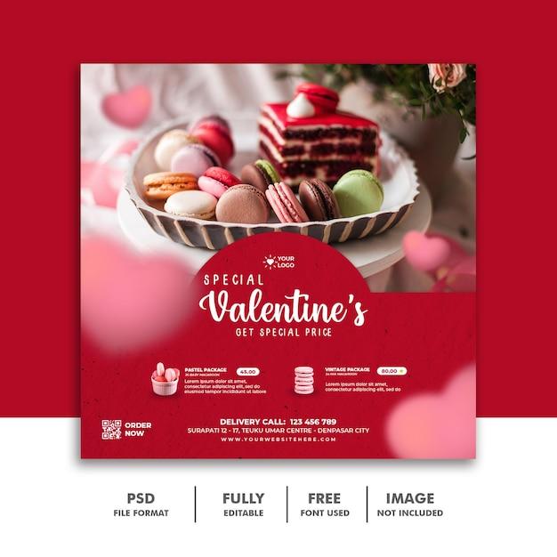Modello di san valentino banner post social media per il menu di cibo Psd Premium