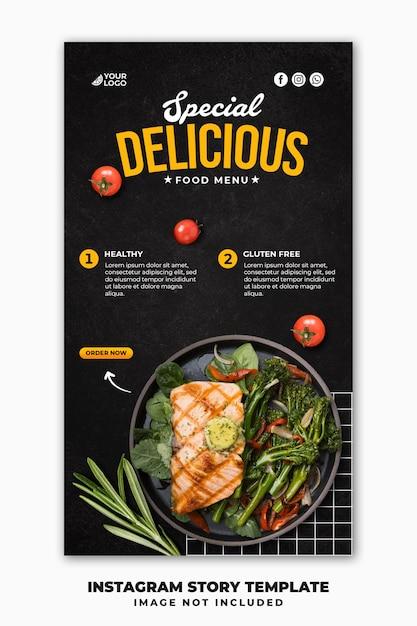 Modello di banner di storie di instagram di post sui social media per il menu del cibo del ristorante Psd Premium