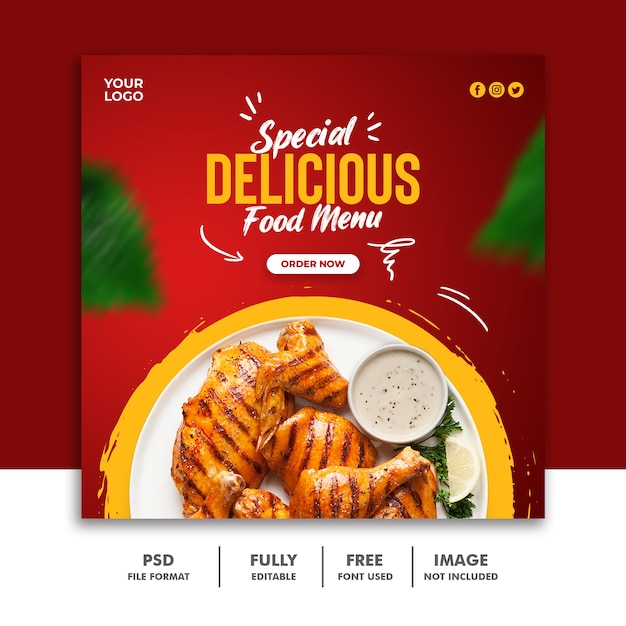 Modello di post sui social media per pollo banner quadrato alimentare Psd Premium