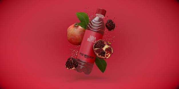 Mockup di melograno bottiglietta di sodio Psd Premium