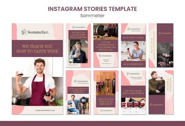 Modello di storie di instagram annuncio di sommelier Psd Premium