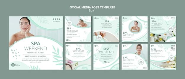 Modello di post sui social media per il fine settimana termale Psd Premium