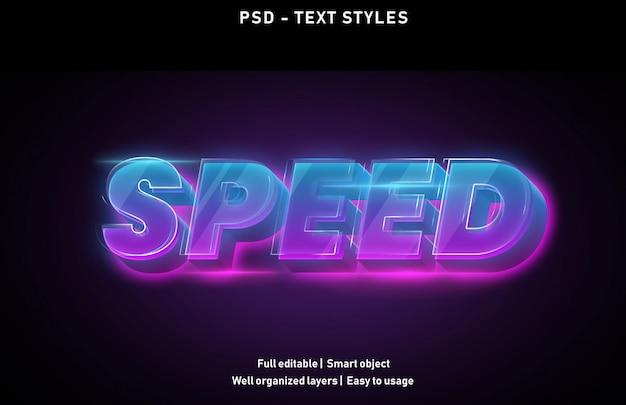 Velocizza lo stile degli effetti di testo modificabile psd Psd Premium