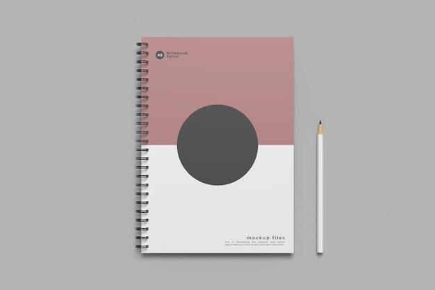 Design mockup notebook a spirale isolato Psd Premium
