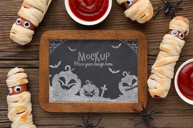 Mock-up di concetto di halloween spettrale Psd Premium