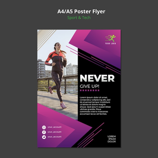 Mock-up poster concetto sport & tecnologia Psd Premium
