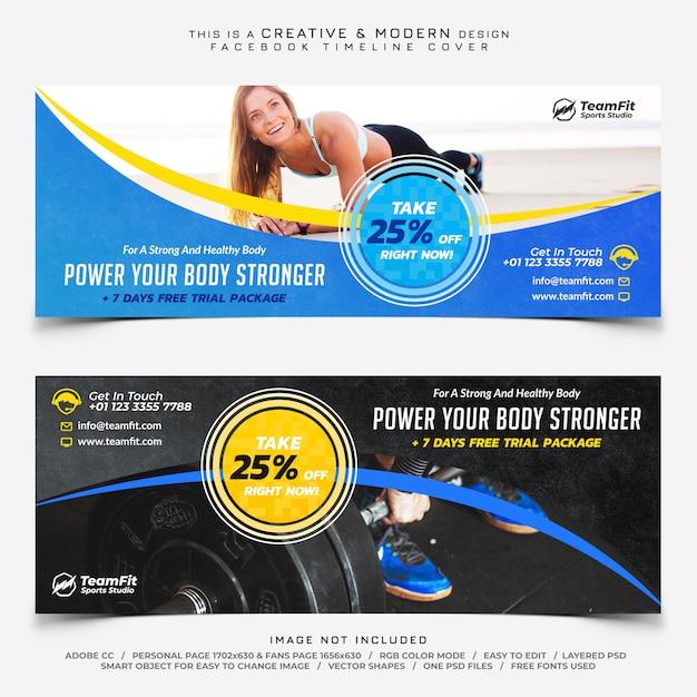 Sport modelli di copertina della timeline di facebook Psd Premium