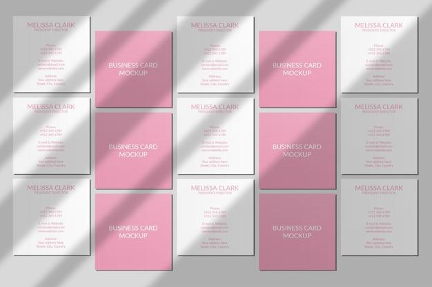 Mockup di biglietto da visita quadrato con sovrapposizione di ombre Psd Premium