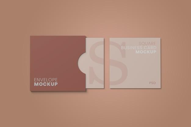 Mockup di biglietto da visita a busta quadrata Psd Premium