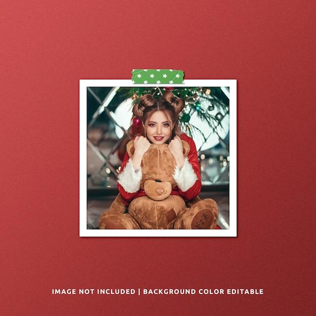 Mockup di foto con cornice di carta quadrata per natale Psd Premium