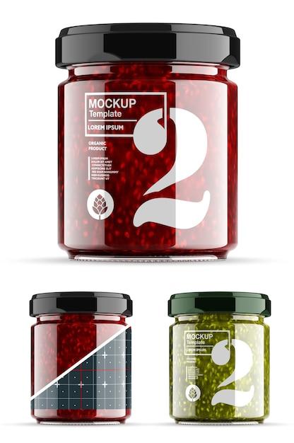 Mockup di barattolo di marmellata di fragole isolato Psd Premium