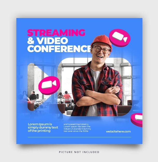 Modello di post sui social media in streaming e videoconferenza Psd Premium