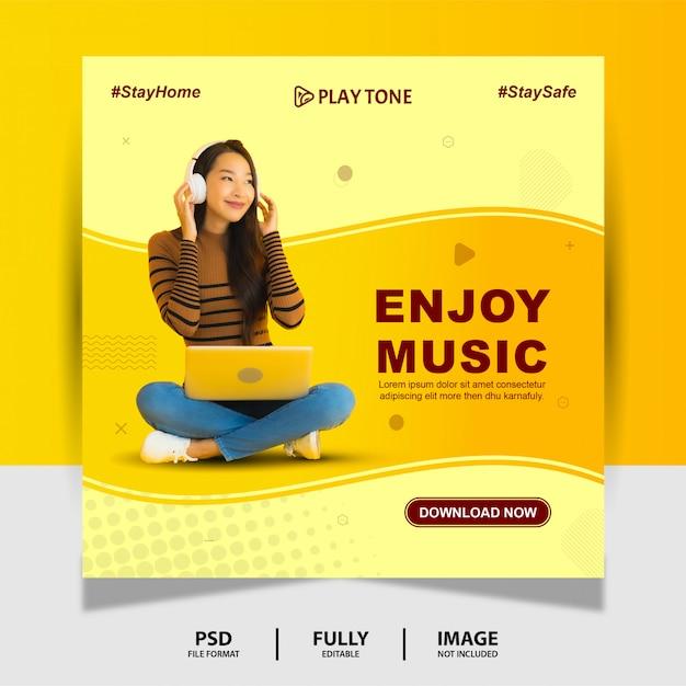 Elegante godetevi la musica social media post banner Psd Premium