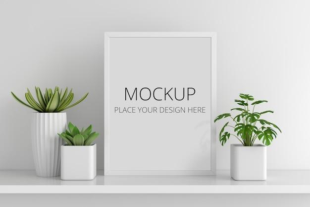 Pianta in vaso succulenta con mockup di cornice Psd Premium