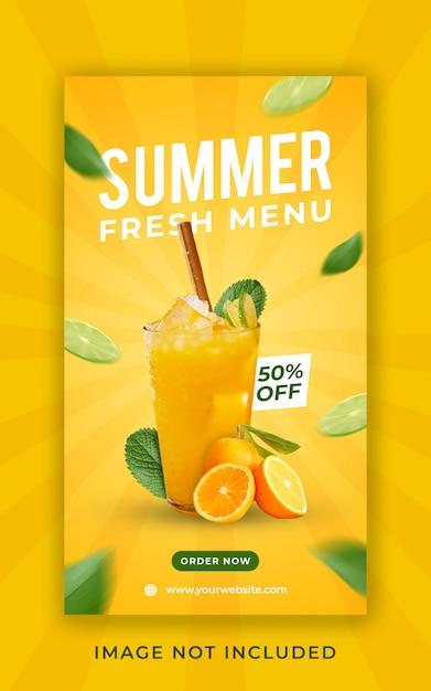 Modello dell'insegna di storie del instagram di promozione del menu della bevanda di estate Psd Premium