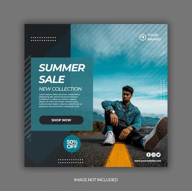 Modello dell'insegna della posta di media sociali di vendita di moda di estate Psd Premium