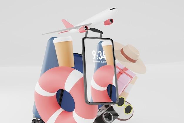 Roba estiva con mockup di telefono cellulare nel rendering 3d illustrazione Psd Premium